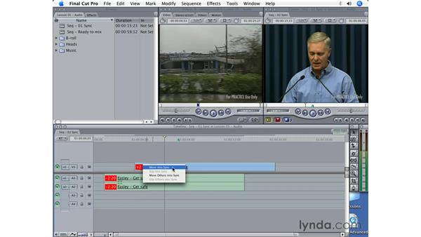 Correcting out-of-sync clips: Final Cut Pro 5 Beyond the Basics