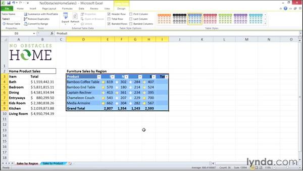 Filtering data with table headers: Migrating from Office 2007 to Office 2010