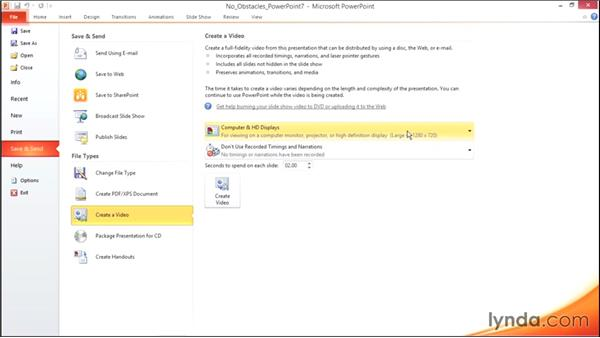 Saving a presentation as a video: Migrating from Office 2007 to Office 2010