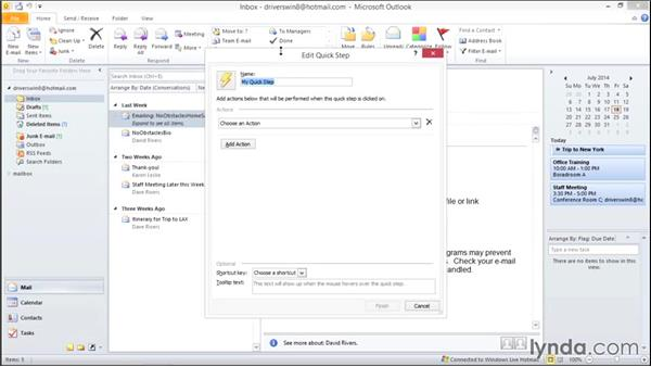 Using Quick Steps to automate tasks: Migrating from Office 2007 to Office 2010