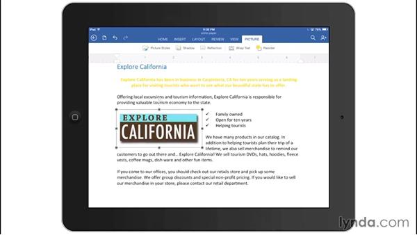 Working with images: Office for iPad and iPhone Essential Training