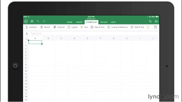 Exploring the Excel interface: Office for iPad and iPhone Essential Training