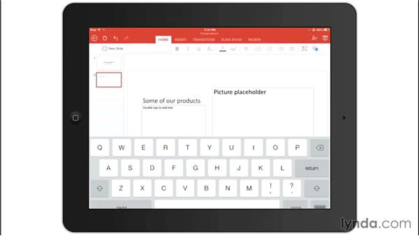 Inserting a new slide: Office for iPad and iPhone Essential Training