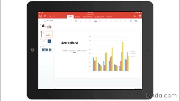 Inserting speaker notes: Office for iPad and iPhone Essential Training