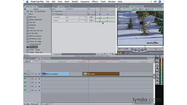 Keyframing filters to animate effects: Final Cut Pro 5 Beyond the Basics