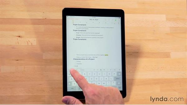 Using the onscreen keyboard: iWork for iPad Essential Training