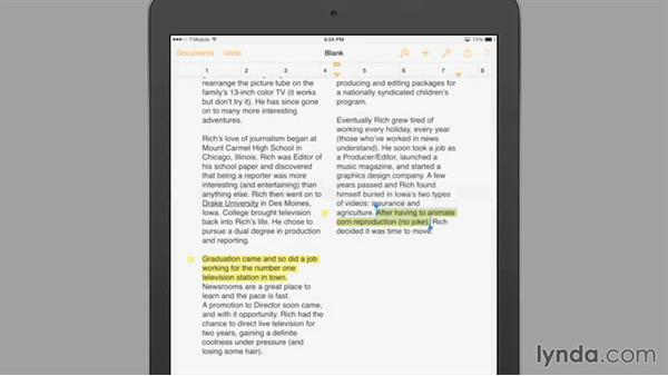 Adding comments: iWork for iPad Essential Training