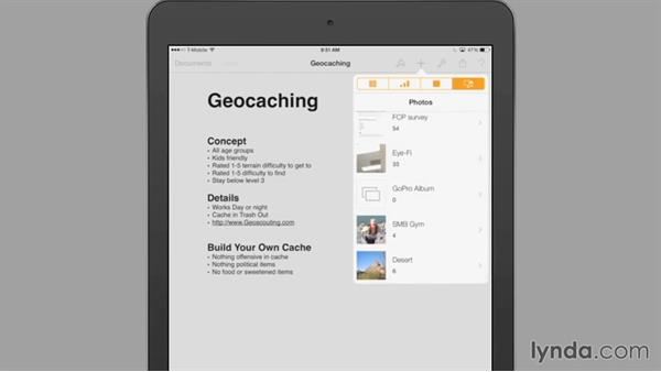 Adding a photo or video: iWork for iPad Essential Training