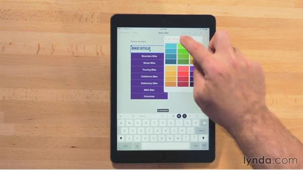Filling in table cells: iWork for iPad Essential Training