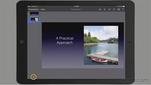 Adding text to a slide: iWork for iPad Essential Training