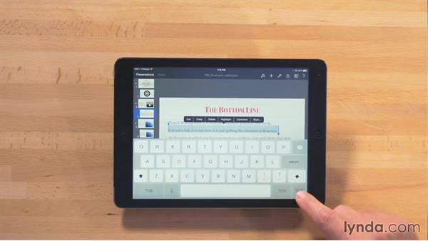 Selecting text: iWork for iPad Essential Training