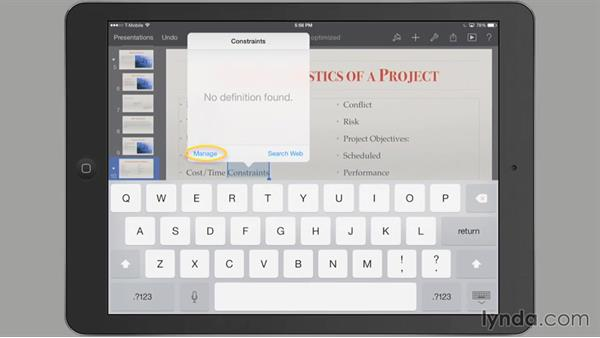 Checking spelling: iWork for iPad Essential Training