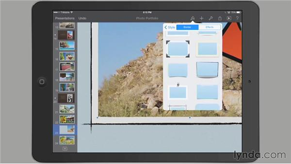 Stylizing images or shapes: iWork for iPad Essential Training