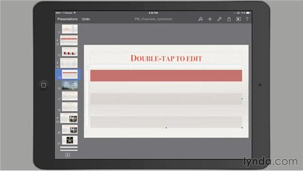 Adding and customizing a table: iWork for iPad Essential Training