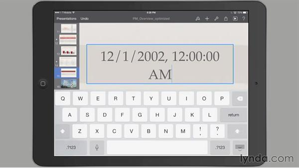 Filling in and adjusting table cells: iWork for iPad Essential Training