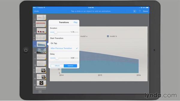 Customizing a transition: iWork for iPad Essential Training