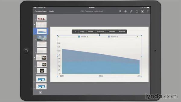 Animating a chart on a slide: iWork for iPad Essential Training
