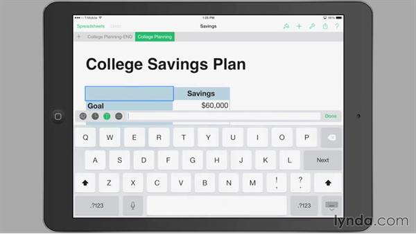Using the onscreen keyboard: iWork for iPad Essential Training