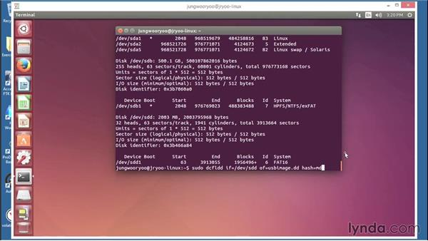 Static acquisition with dcfldd (forensic DD): Computer Forensics Essential Training