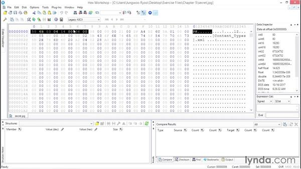 Hex editor analysis of a file with a wrong extension: Computer Forensics Essential Training
