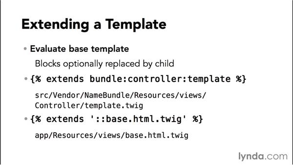 Extending templates and decoration: Up and Running with Symfony2 for PHP (2014)