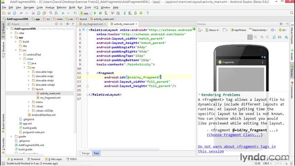 Adding a fragment to an activity with XML: Building Adaptive Android Apps with Fragments