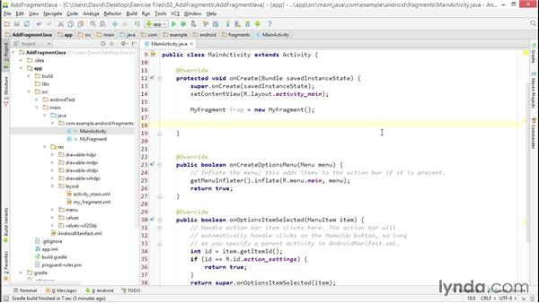 Adding a fragment to an activity with Java: Building Adaptive Android Apps with Fragments