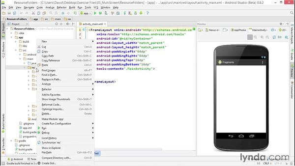 Adding resources for screen sizes: Building Adaptive Android Apps with Fragments