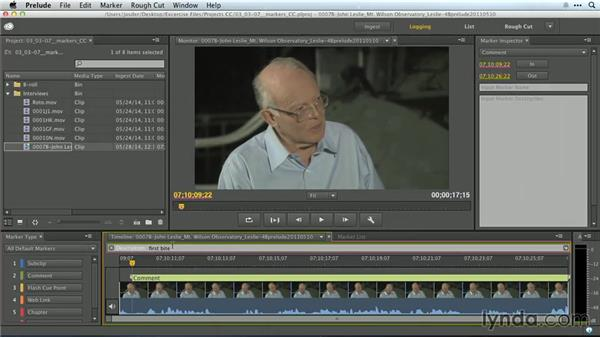 Adding markers: Premiere Pro Guru: Working with Prelude
