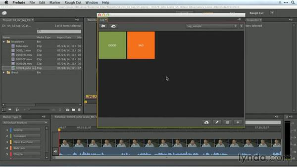 Real-time tagging with the Tag panel: Premiere Pro Guru: Working with Prelude