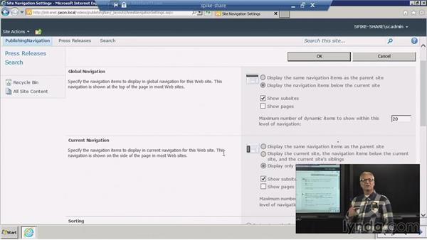 Navigation: Publishing sites: SharePoint 2010: Foundation and Server