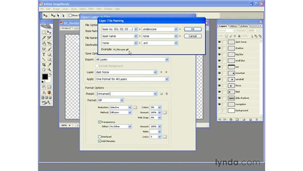 The ImageReady CS2 Export Layers as Files command: Photoshop CS2 and Flash 8 Integration