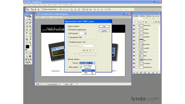 Basic SWF export from ImageReady CS2: Photoshop CS2 and Flash 8 Integration