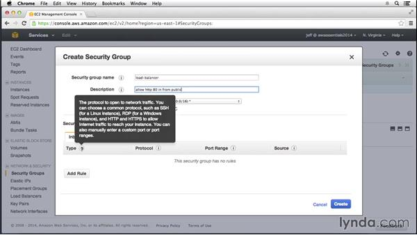 Configuring a security group: Amazon Web Services Essential Training