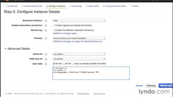 Launching an EC2 instance (and configuring Apache and PHP with user data): Amazon Web Services Essential Training