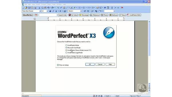 The workspace selection: WordPerfect Office X3 Essential Training