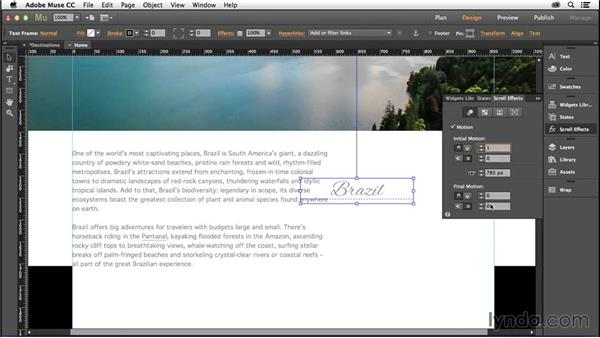 Adding horizontal scroll motion: Creating a One-Page Scrollable Website with Muse