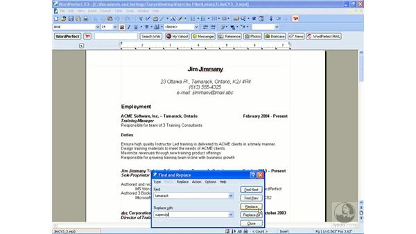 Using find and replace: WordPerfect Office X3 Essential Training