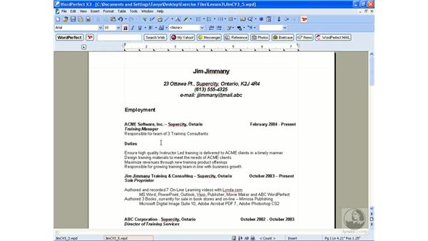 Moving and copying text: WordPerfect Office X3 Essential Training