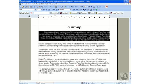 Setting justification: WordPerfect Office X3 Essential Training
