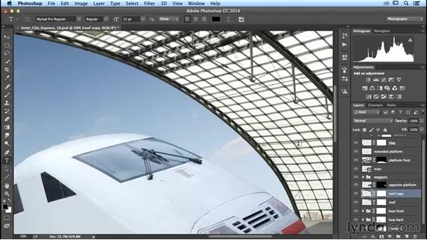 Adjusting the roof so it blends into the scene: Photoshop Artist in Action: Uli Staiger's Inner City Express
