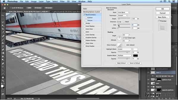 Refining the text to blend in: Photoshop Artist in Action: Uli Staiger's Inner City Express