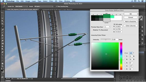 Applying a material to your 3D object: Photoshop Artist in Action: Uli Staiger's Inner City Express