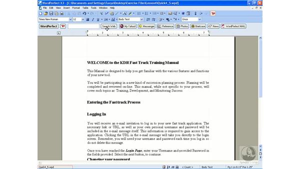 Using QuickFormat and the highlighter: WordPerfect Office X3 Essential Training