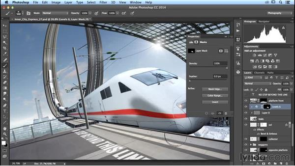 Painting low lights onto the train: Photoshop Artist in Action: Uli Staiger's Inner City Express