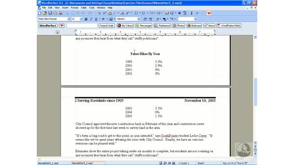 Keeping text together: WordPerfect Office X3 Essential Training