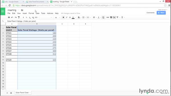 Inserting, deleting, and clearing rows and columns: Google Sheets Essential Training