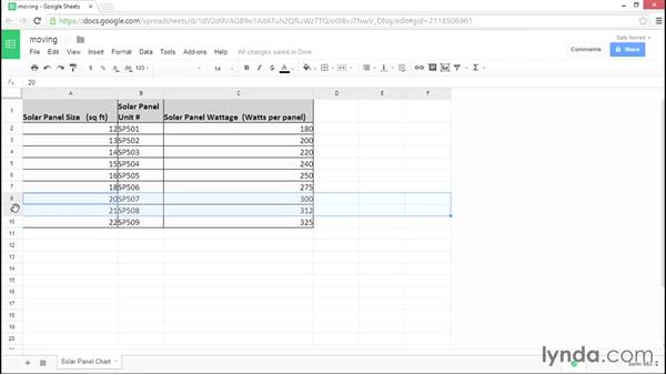 Moving rows, columns, and cells: Google Sheets Essential Training