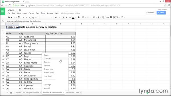 Working with multiple sheets: Google Sheets Essential Training