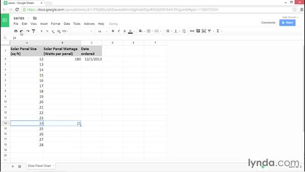 Creating a series of numbers or dates: Google Sheets Essential Training